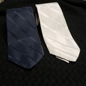 VTG Bill Blass silver/gray &navy striped silk ties